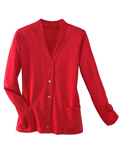 UltraSofts Button-Front Knit Cardigan, Red, Petite (Red Cotton Cardigan)