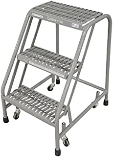 "product image for Cotterman 1003N1820A3E10B3C1P1 All Welded Ready to Use Rolling Steel Safety Ladder, 3-Step, 30"" Top Step Height, Serrated Tread, 450 lb Capacity"