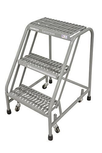 Step Rolling Safety Ladder - Cotterman 1003N1820A3E10B3C1P1 All Welded Ready to Use Rolling Steel Safety Ladder, 3-Step, 30