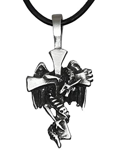 - Trilogy Jewelry Pewter Dragon around Cross Pendant on Leather Necklace