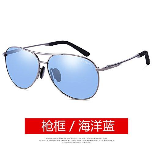 la polarizadas ojos color gafas Sea Gun Gafas personalidad conducía hombre que pionero cara gafas KOMNY conductor sol DECOLORACIÓN Blue marco de Frame redonda negro 6xwqztv