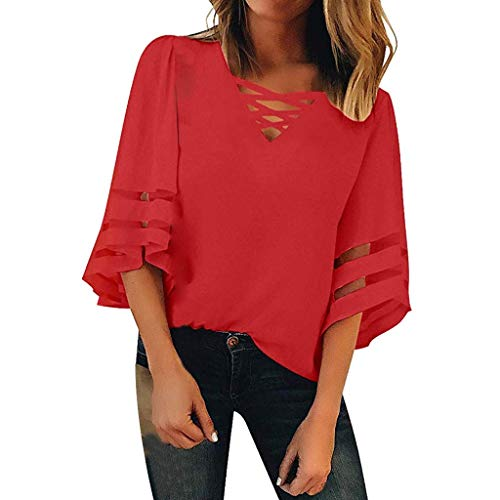 (Women's Cold Shoulder 3/4 Horn Sleeve Mesh V-Neck T-Shirt Loose Bud Wire Cloth Patchwork Chiffon Shirt Red)
