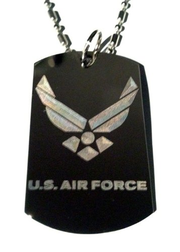 United States of America AIR Force USAF Logo - Military Dog Tag Luggage Tag Key Chain Metal Chain Necklace