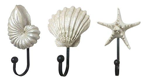 (Creative Utility Wall Hooks Decorative Wall Mounted Hangers from Ocharzy, Set of 3 (Seashell Starfish))