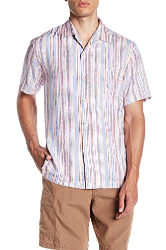 Tommy Bahama Men's Stripe Me to Paradise Short Sleeve Silk Blend Short Sleeve Shirt (Sun Coral, Small)
