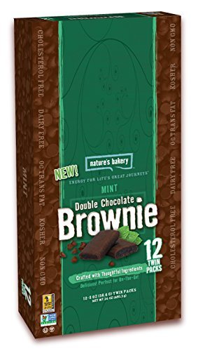 Nature's Bakery Double Chocolate Brownie, Mint, Vegan + Non-GMO, 12 Count Carton (Pack of 7)