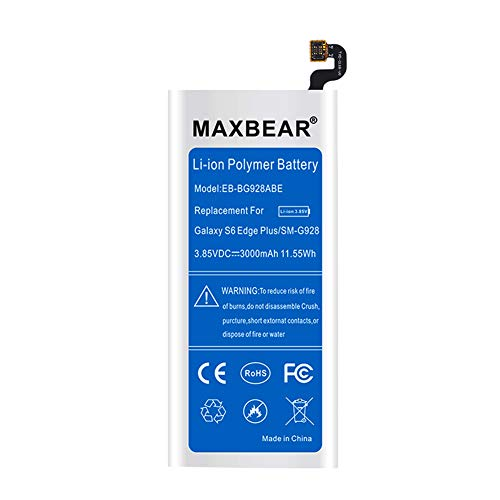 Galaxy S6 Edge Plus Battery,MAXBEAR [3000mAh] Lithium Ion Polymern Internal Battery EB-BG928ABE Replacement for Samsung Galaxy S6 Edge Plus SM-G928 G928A G928T G928P G928V with Free Tool.