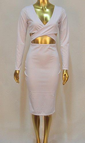 952c8076a04 ... Damen Sommerkleider Tiefem Modisch Knielang Kleider V-ausschnitt  Abendkleid Mädchen Kreuzgurte Weiß Elegant Kleid Bekleidung ...
