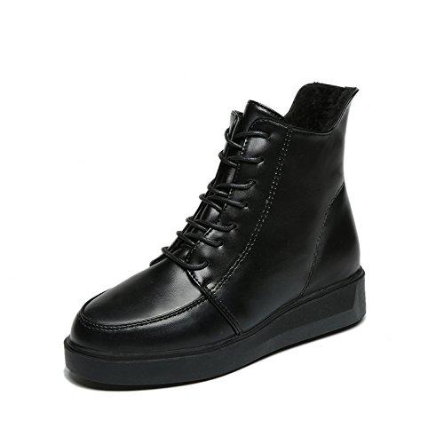 KHSKX-Martin Zapatos De Invierno Botas Mujer Botas Todo Partido Estilo British Ronda Con Terciopelo Black Treinta Y Cinco Thirty-nine