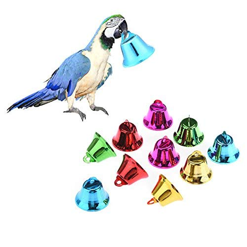 10pcs Colorful bells Bird Toy Making Kits DIY Accessory for Parrot Budgie Parakeet Cockatiel Conure Lovebird Canary African Grey Cockatoo Amazon Cage Part (Bird Toy Making Supplies)