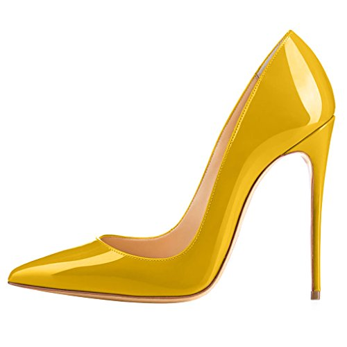 Calaier Womens Cahen Pekte Tå 12cm Stiletto Slip-on Pumper Sko Gul B