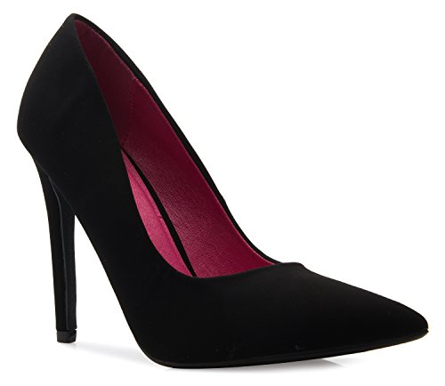 Comfortable Toe Casual Closed Nubuck High D'Orsay OLIVIA Heel K True Classic Women's Pump Black XqwOvRS