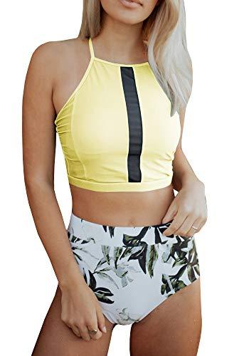 - Tutorutor Womens Halter Bikini Set Padded High Waist Criss Cross Print Bathing Suit (Medium, Yellow)