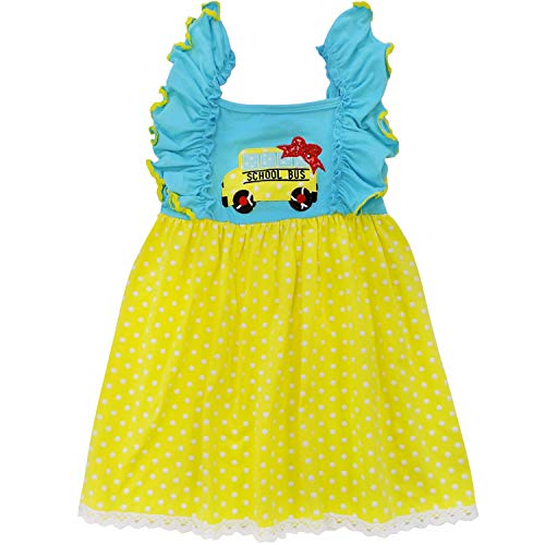 So Sydney Toddler & Girls Apple Back to School Collection Skirt Set, Dress or Outfit (XL (6), School Bus Polka Dot) (Best Outfits For Back To School)