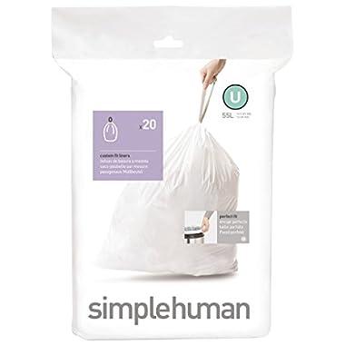 simplehuman code U custom fit liners, 1 refill pack (20 liners), 55 L / 14.5 Gal