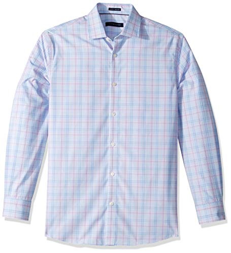 Tommy Hilfiger Men's Dress Shirts Non Iron Slim Fit Check, Multi Blue, 17