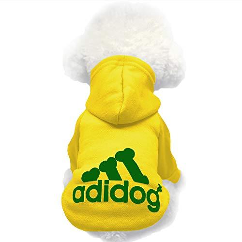 Moolecole Pet Sports Apparel Cat & Dog Cold Weather Coats Dog Hoodies Pet Sweaters (XXL, Yellow)