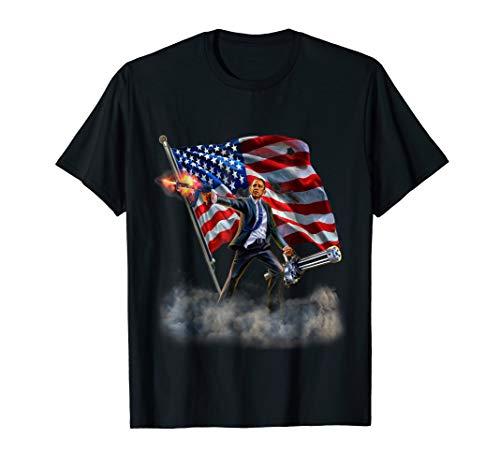T-Shirt, Heroic America President Barack Obama Blasting Epic