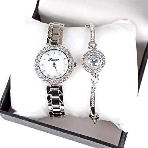 Women's Stainless Steel Analog Diamond Gauge Watch Quote Bracelet Jewelry Set Rose Gold Color Silver Color-Valentine's Day Gifts ()