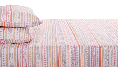 (HONEYMOON HOME FASHIONS Queen Sheet Set 4PC, Multi Dot Stripe)