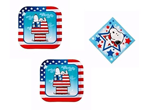 Peanuts Snoopy Patriotic Paper Dessert Plates and Beverage Napkins for 16
