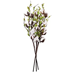 Red Co. Cotton & Green Willow Leaves Spray Pick Farmhouse Home Decor – Set of 3, 24 Inches Long