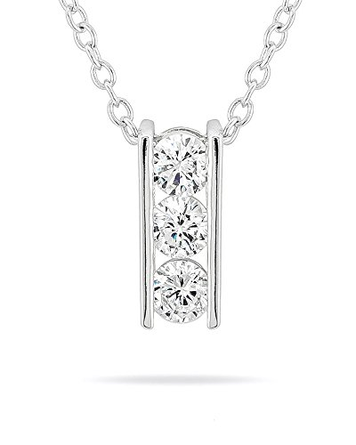 Genuine Rhodium Plated 3-Stone Pendant Featuring 3 Channel Set Round Cut Clear Cubic Zirconia from Kate Bissett