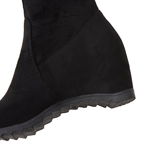 AIYOUMEI Womens Lace Round Toe Increased Internal Autumn Winter Over-the-Knee Wedges Boots Black DSRBX