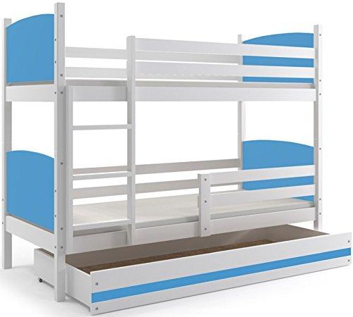 Blau Interbeds Etagenbett Tami 190x90cm Farbe  weiβ + 2. Farbe zur Wahl; mit Matratzen und Lattenroste (blau)