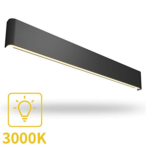 Aipsun 43.3in/35W LED Matte Black Modern Vanity Light Up and Down Wall Mount Light Indoor Wall Light for Bathroom Lighting Fixtures (Warm White 3000K)