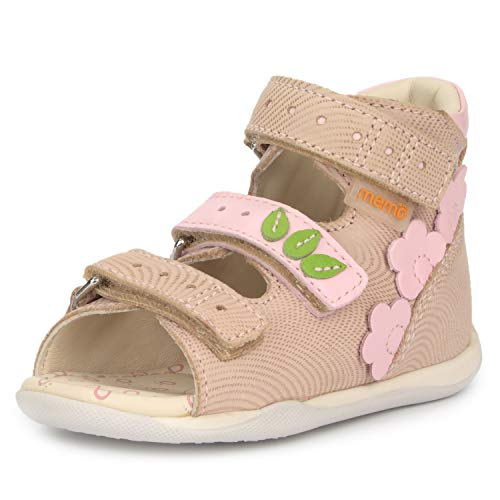 Baby Goat Leather - Memo Dino First Walking Orthopedic Girls Natural Leather Sandal, Beige, 4T US (19 EU)
