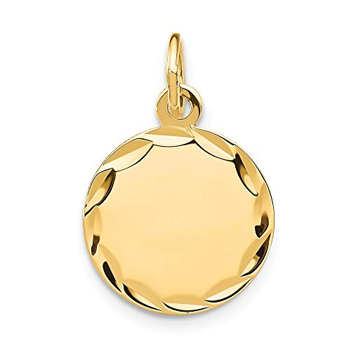 14k Yellow Gold Etched .011 Gauge Engravable Round Disc Pendant Charm Necklace Fine Jewelry Gifts For Women For Her