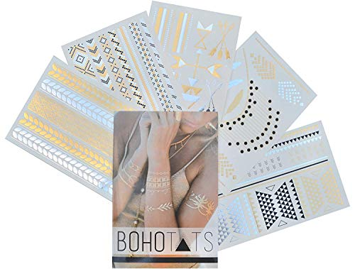 BohoTats Tattoos - Set of 5 Sheets - Over 100+ Intricate Designs - Stunning Flash Metallic Boho Tattoos - Non Toxic - Quality Guarantee - Temporary Metallic Tattoos]()