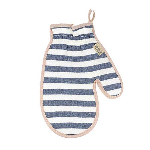 BLUE Durable Soft Rub-free Hanging Bath Glove Portable Stripe Bath Body Brush by Panda Superstore