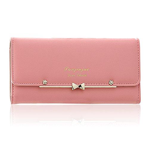 Woolala Women Cute Bowknot Wallet Trifold Large Capacity Long Purse, Pink