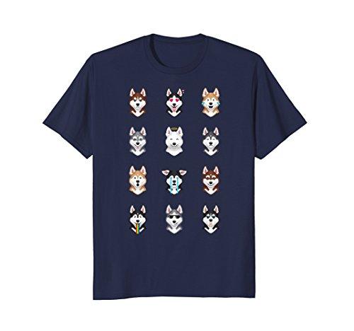 Mens Funny Siberian Husky Emoji T-Shirt 3XL - With Sunglasses Deal Emoji It