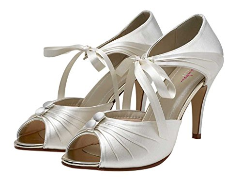 Rainbow Club Nancy - Vintage Inspired Peep Toe Stiletto Heel Ivory Wedding Shoes