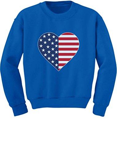 Tstars - American Flag Heart Stars Strips Patriotic USA Toddler/Kids Sweatshirt 4T Blue