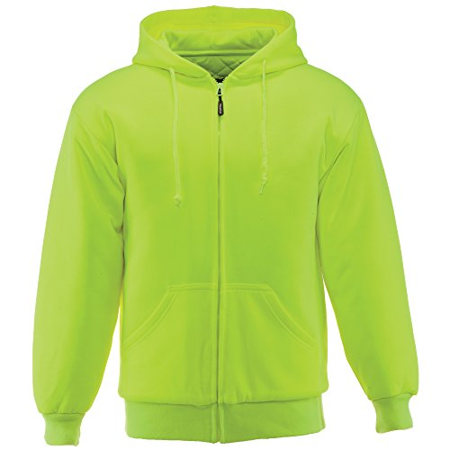 RefrigiWear Men's Insulated Quilted Sweatshirt Hoodie (High Visibility Lime, Medium) ()