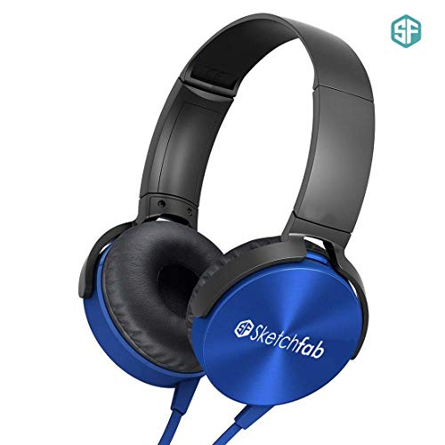 Sketchfab Extra bass Headphones Over The Ear Headset with Deep bass (Blue)
