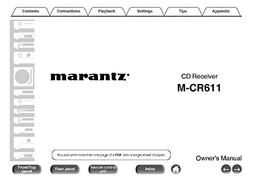 Price comparison product image Marantz M-CR611 CD Receiver Owners Instruction Manual