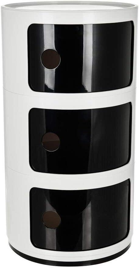 Comodino con 2 3 4 5 cassetti Bianco 3 Tier White /& Black Costello/® colore
