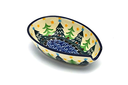 Polish Pottery Spoon Rest - Christmas Trees Christmas Tree Spoon Rest