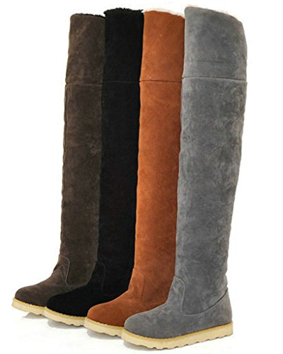 Minetom Damen Herbst Winter Warm Schneestiefel Mode Über Knie Lange Stiefel Plattform Schuhe Gelb