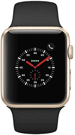 Apple Watch Series 2 Smartwatch 42mm Gold Aluminum Case Black Sport Band Black Sport Band Renewed Black