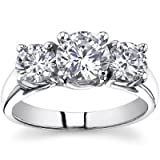 1.93 Ct Ladies Round Cut Diamond Three Stone Engagement Ring Platinum