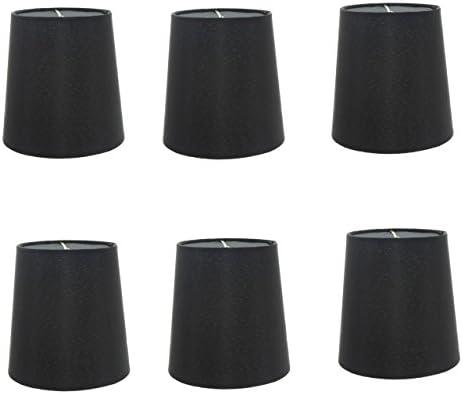Upgradelights 5 Inch European Drum Style Chandelier Lamp Shade in Black Silk Set of six