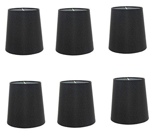 Upgradelights 5 Inch European Drum Style Chandelier Lamp Shade in Black Silk (Set of six) -