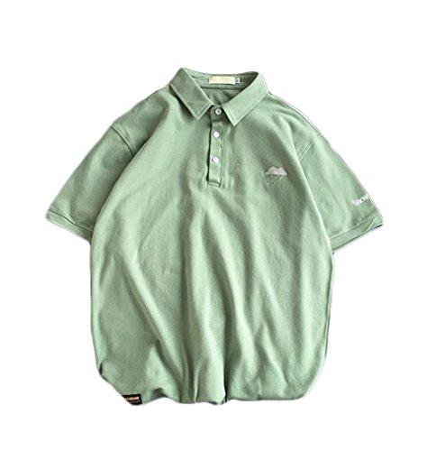[ユリカー] メンズ ポロシャツ 半袖 刺繍 ゴルフウェア 無地 Tシャツ 通気性 おもしろ 薄手 ゆったり 春夏季対応トップス サイズM-5XL
