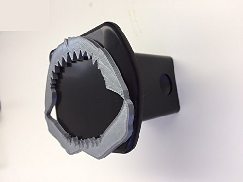 (Jaws Shark Teeth in 3d - Black with Grey - 2 inch Trailer Hitch Cover - Surf Hang Loose)